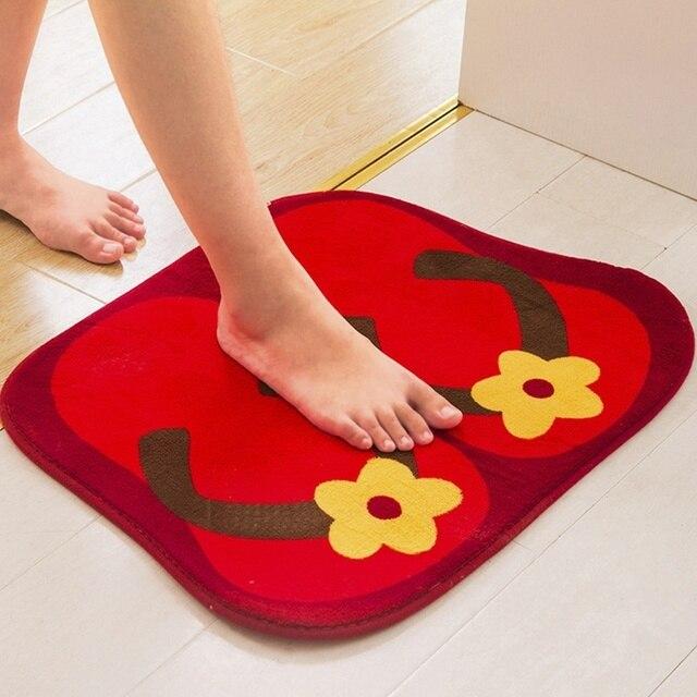 Creative Flip Flops Pattern Soft Plush Non Slip Bedroom Floor Rug Bath Entrance Doormat Door Mat