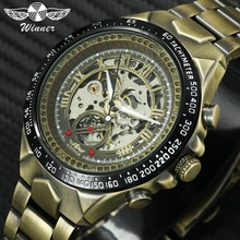 WINNER montre mécanique hommes mode Design laiton Visible cadran étanche inoxydable montres automatiques de luxe Top marque Reloj