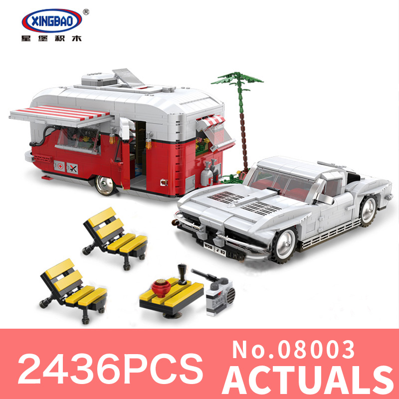 XingBao 08003 2436Pcs New Creative Series The MOC Camper Set Children Educational Building Blocks Bricks Toys for Christmas Gift lepin 02020 965pcs city series the new police station set children educational building blocks bricks toys model for gift 60141