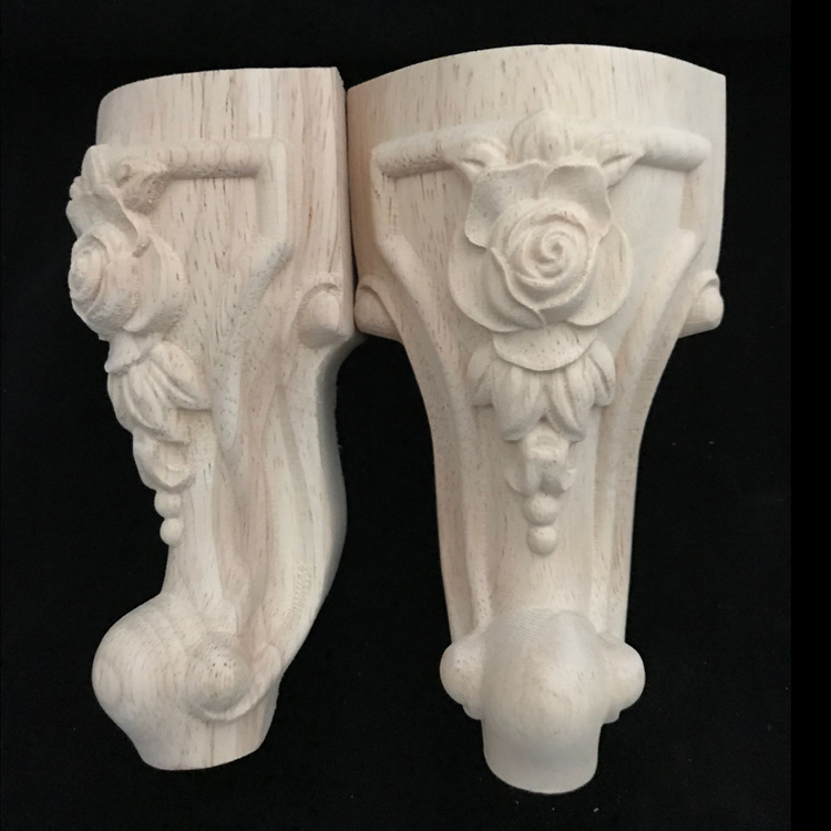 4pcs/lots Oak Wood Furniture Legs Solid Wood Flower Carved TV Cabinet Seat Feet No Painting Wooden Sofa Table Foot Legs B530