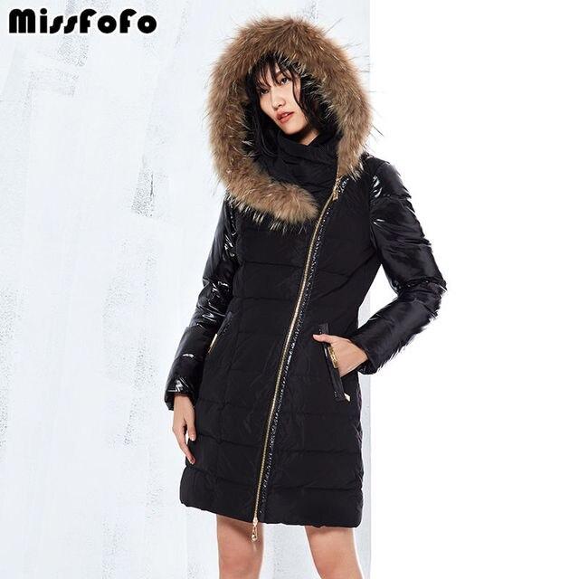 Missfofo 2017 Для женщин утка Подпушка куртка комбинированная теплая куртка Новый капюшоном меховой воротник черный Размеры S-XXL хорошее качество