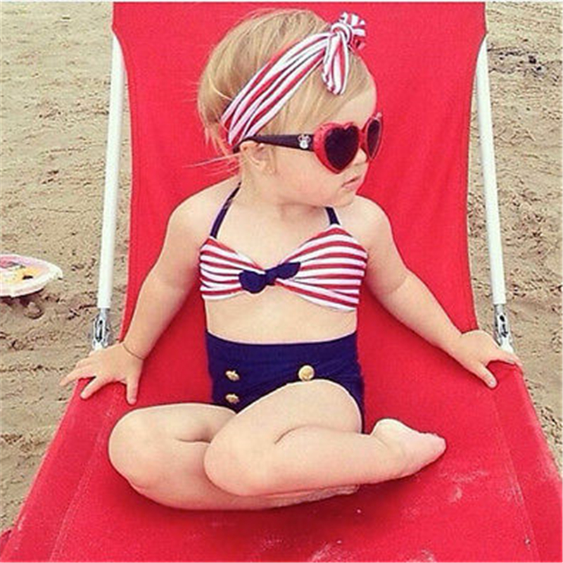 Baby Girls Bikini 2 Piece Set Toddler Kids Swimsuit Summer Outfits Fashion Striped Swimwear Swimming Bathing Suit Beach Clothes