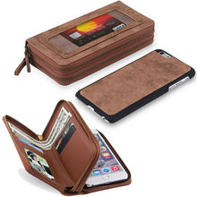2 in 1 Multifunction Detachable Magnetic Bag Case for iPhone 6 s 6s 7 Plus 6Plus Phone Leather Wallet Zipper Cover Coque Capinha