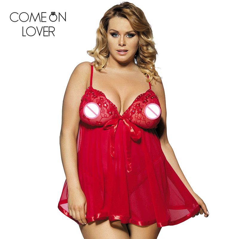 4757ed485 Comeonlover High quality mini sexy erotic dress strap porn women's sexy  lingerie large size 6XL sleepwear lace night dress 2073-in Babydolls &  Chemises from ...