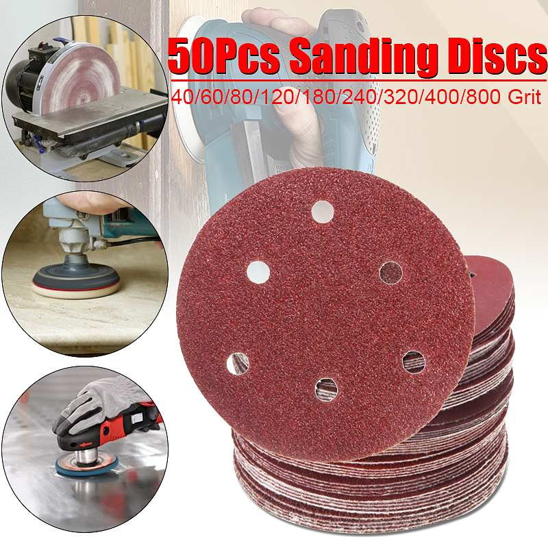 50/100pcs 150mm/6'' Sanding Disc 40 60 80 100 120 180 240 320 400 800 Mixed Grit Round Shape Sandpaper Orbital Paper Punch Sheet