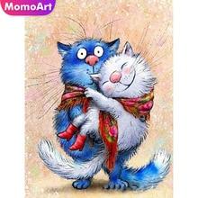 MomoArt Diy Diamond Embroidery Cat Painting Full Square Rhinestone Mosaic Cross Stitch Animal