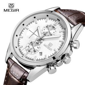 Image 4 - Megir 새로운 패션 군사 가죽 쿼츠 시계 남자 럭셔리 빛나는 크로노 그래프 아날로그 시계 남자 손목 시계 무료 배송 5005