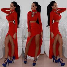 Evening Celebrity New Dress 2016 Sexy Long Sleeve Bodycon Bandage Dress Lace Womens Midi Party Prom Party Women's Dress
