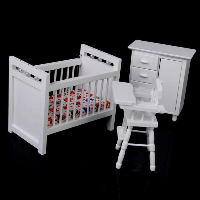 Neue Puppenhaus Miniatur Möbel Holz Baby Schlafzimmer set 1/12 Weiß ...
