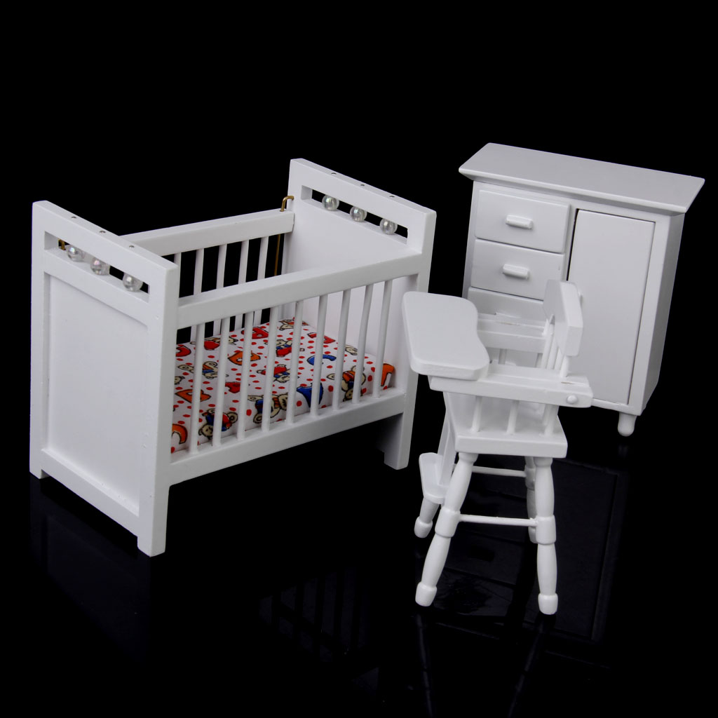 New Dollhouse Miniature Furniture Wooden Baby Bedroom Set