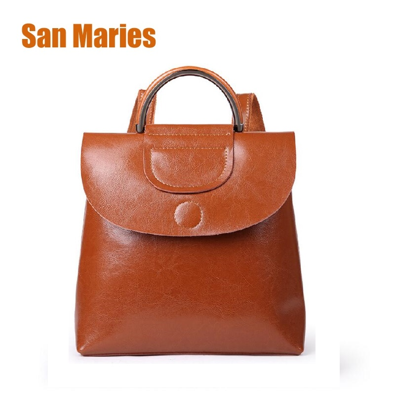 San Maries New 2018 Women Leather Backpack High Quality Fashion Leisure Backpacks for Teenage Girls School Travel Bags Sac Femme fashion solid women backpack high quality leather backpack female daily backpack for teenage girls schoolbag leisure daypack sac
