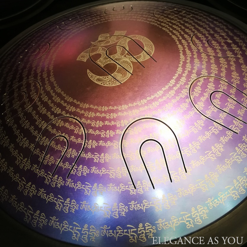 Design ajouré motif sanscrit double tons langue tambour acier langue tambour rue HandPan 14 pouces métal tambour D mineur accrocher tambour