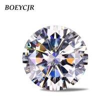 BOEYCJR 3ct 9mm D kolor okrągły Brilliant Cut Moissanite luźny kamień VVS1 doskonały krój tworzenia biżuterii kamień pierścionek zaręczynowy