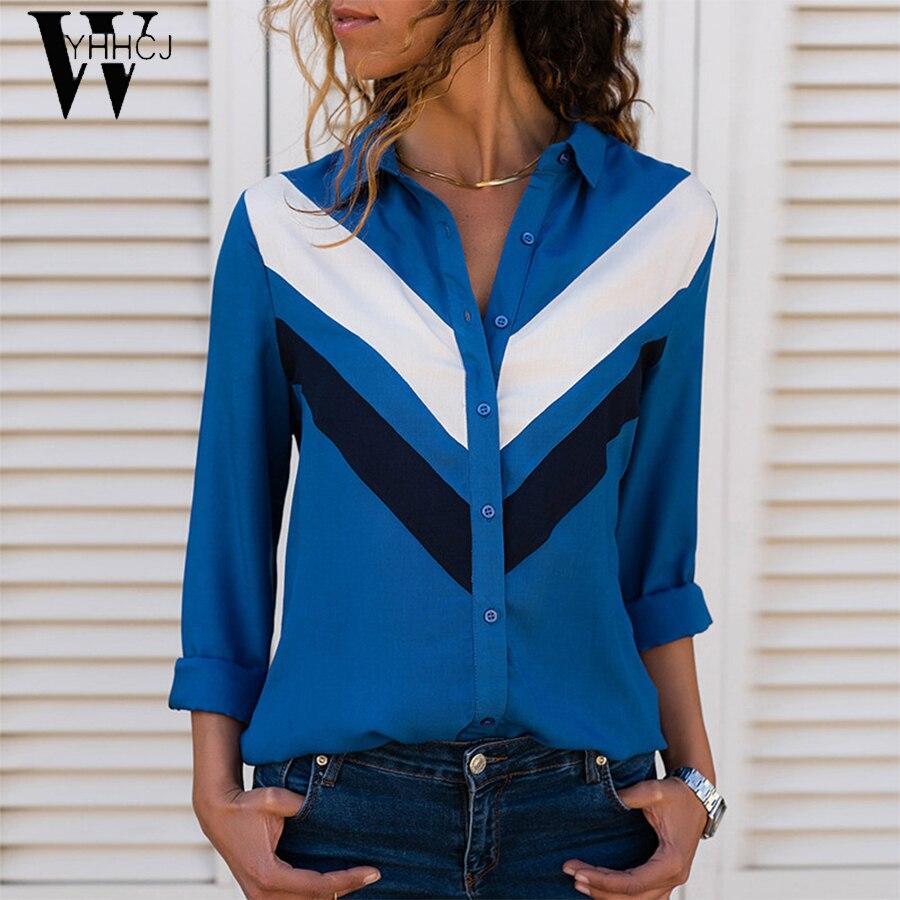 2019 Fashion Long Sleeve Women   Blouses   Turn Down Collar Office   Shirt   Chiffon   Blouse     Shirt   Casual Tops Plus Size Blusas Femininas