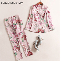 Spring Autumn Fashion Design Handsome Women S 2 Pieces Pants Set Suit Top Long Trousers Flower