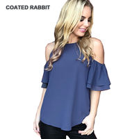 Summer Fashion Ladies Tops Tees Shirts Women Casual Butterfly Short Sleeve Cold Shoulder Black Crew Neck