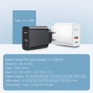Image 3 - Baseus 30 ワット急速充電 4.0 3.0 usb充電器は過給デュアルusbタイプc pd 3.0 急速充電器iphone x xs huawei社 5A