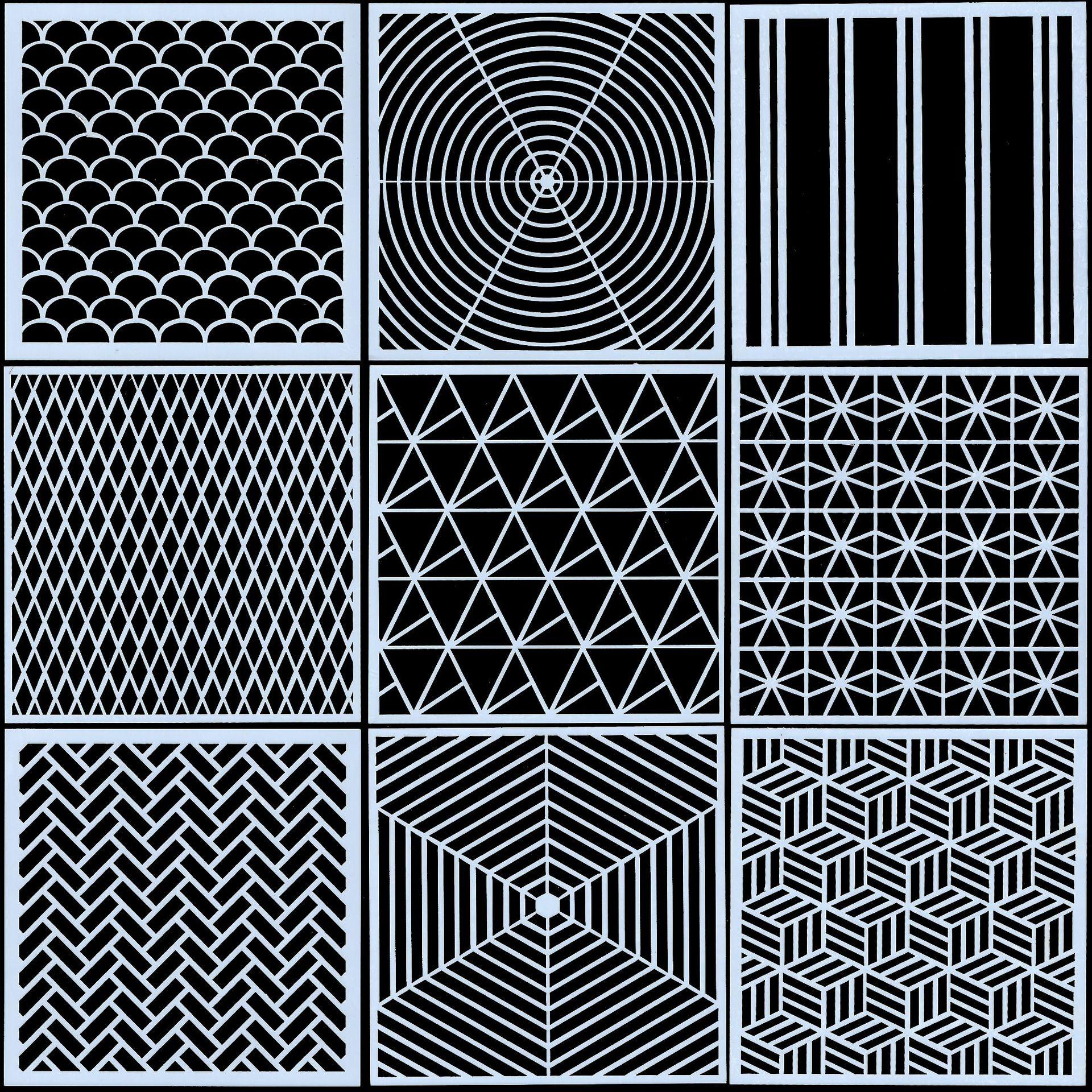 9Pcs/Set 13cm Simple Geometry Texture DIY Craft Layering Stencils Painting Scrapbooking Stamping Embossing Album Card Template