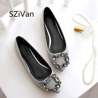 SZiVan Women Flats PU Patent Leather Shoes New Fashion Pointed Toe Crystal Diamond Plus SIZE 33