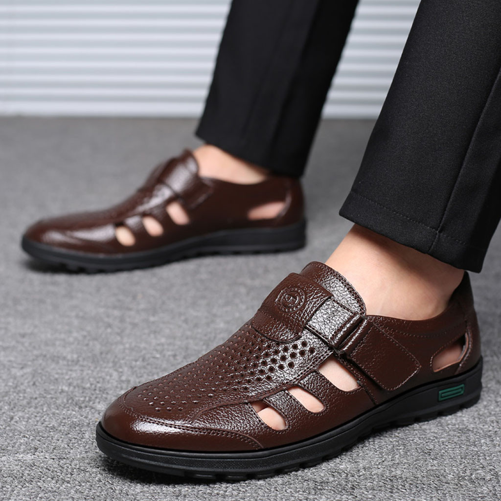 New Mens Hollow Out Fisherman Sandals Dress Formal Leather Shoes Slip