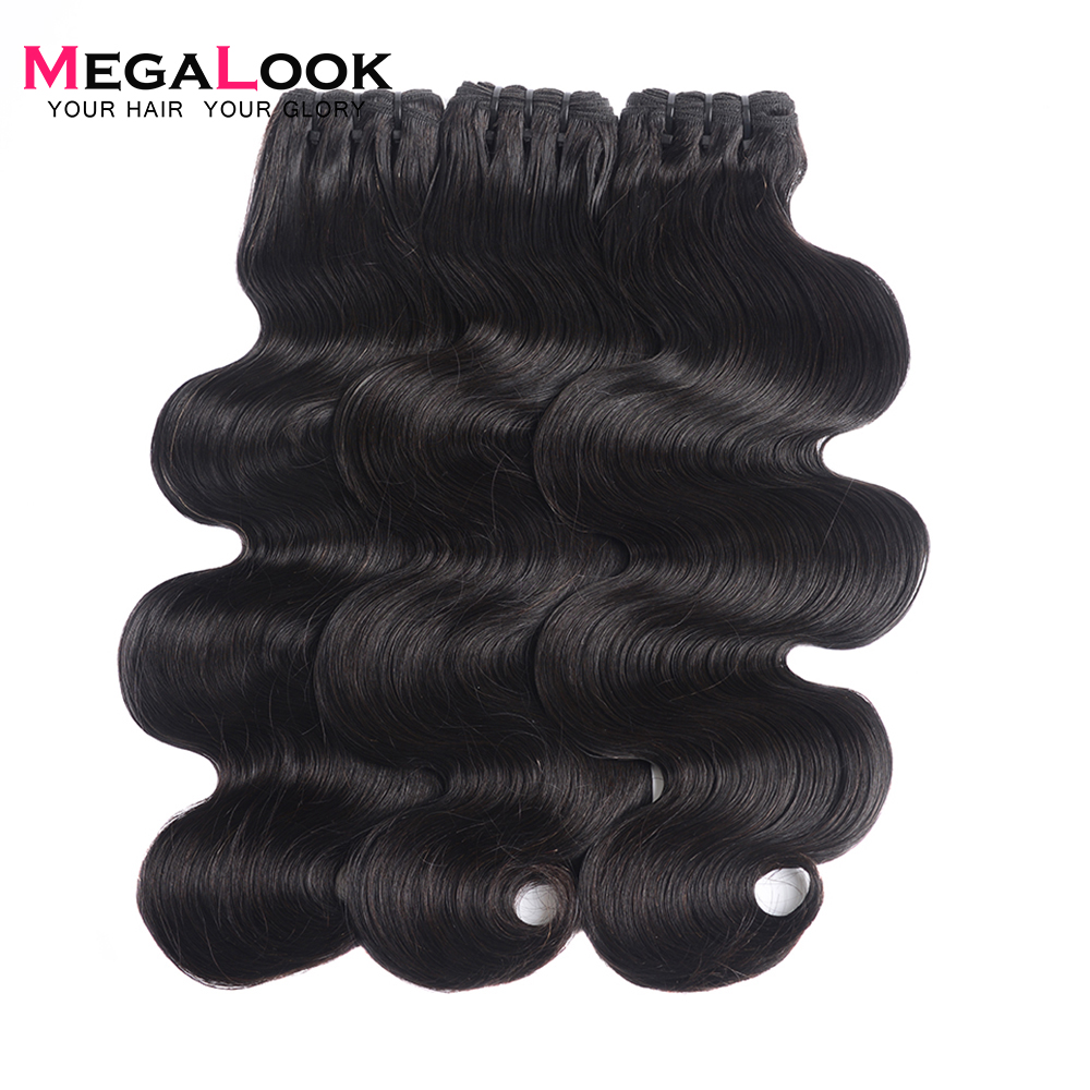 Megalook Brazilian Body Wave Double Drawn Hair Bundles Unprocessed Natural Black Hair Weave Bundle