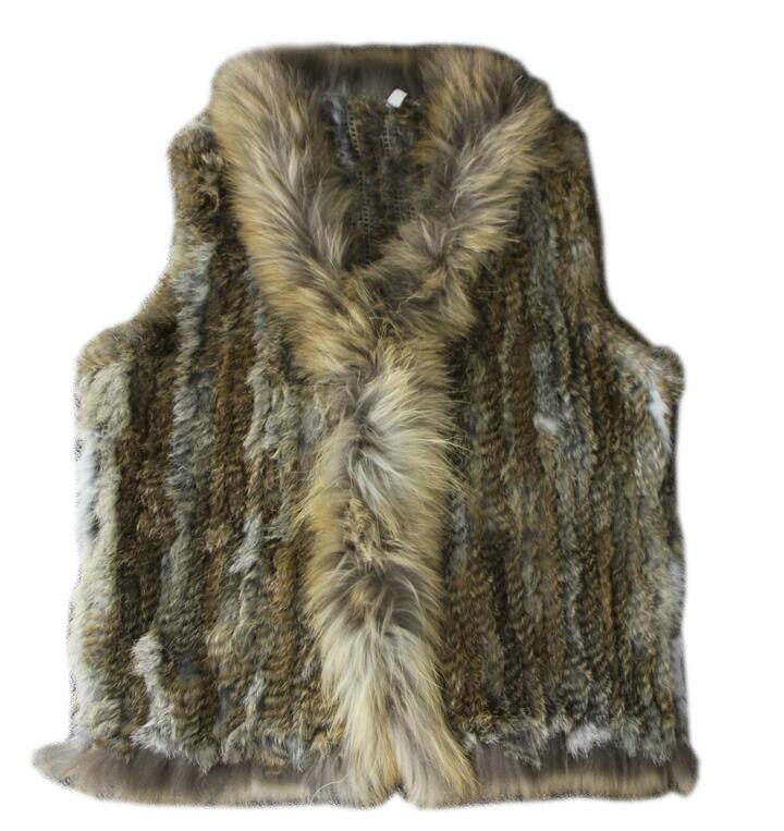 2019 Women Genuine Natural Real rabbit fur Knitted Vests Waistcoat gilet coats with tassels Raccoon Fur