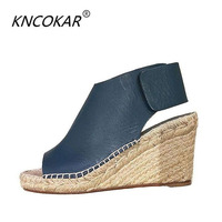 21219c40c KNCOKAR2018 High Heels Women S Summer Sandals Retro Grass Wedges And  Fishmouth Shoes Bohemian Platform Shoes