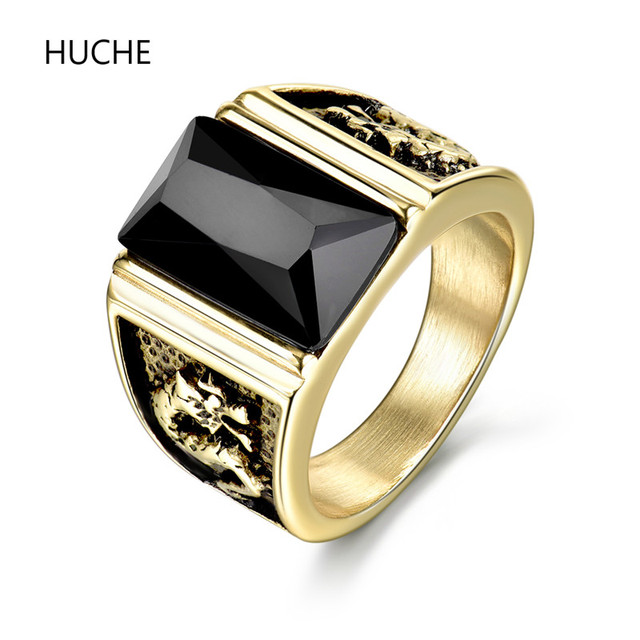 HUCHE Hot Sale Antique Engraved Dragon Wedding Ring Gold Color Black