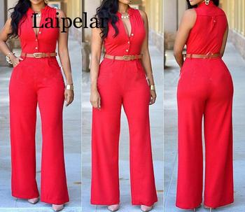 цена на Laipelar Women v-neck wide leg pants rompers women jumpsuit sexy jumpsuits for women 2019 women jumpsuits plus size