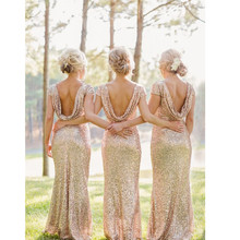 Champagne Scoop Sequined Floor Length Bridesmaids Dress Short Sleeves In Stock Fast Shipping vestido de noiva