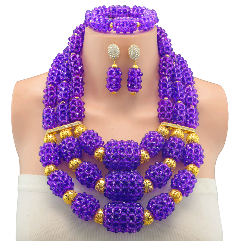2017 Fashionable African Beads Jewelry Set Purple Costume Nigerian Wedding African Bridal Jewelry Set Free Shipping цены онлайн