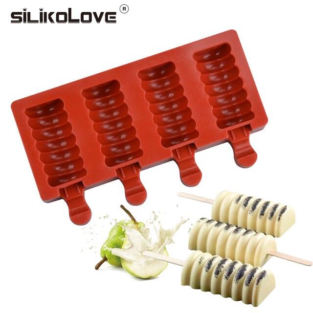 SILIKOLOVE 4 полостей форма для изготовления мороженого DIY Kithchen домашние Формочки Для Мороженого на палочке с палочки для сладостей BPA бесплатно легко чистить