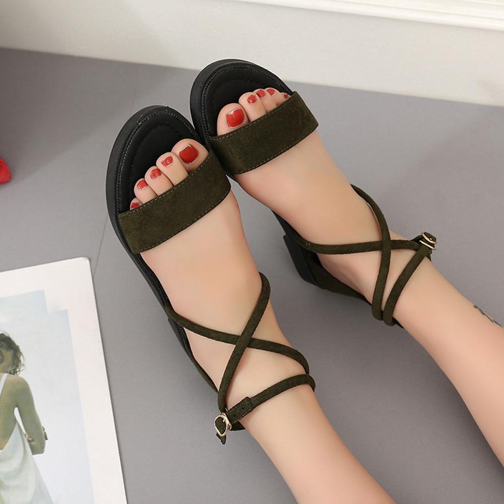 58f43c6e377a Women s sandals Girls Flat Sandals Cross Straps Open Toe Buckle Low Heel  Sandals Wedge Summer women s shoes andalia feminina A8-in Women s Sandals  from ...