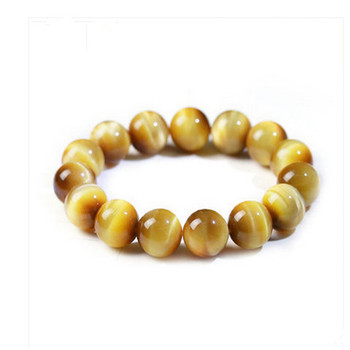 Fashion Genuine Natural Gold Tiger's Eye Gem Stone Round Bead Stretch Bracelet 14mm Popular Men Women Crystal Barcelet Stone