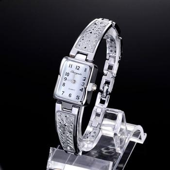 Women Vintage Luxury Gold + Silver Watches Elegant Quartz Fashion Rectangle Dial Watch Carved Pattern Bracelet Casual WristWatch 1