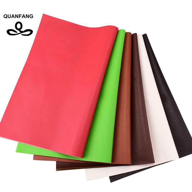 QUANFANG 6pcs/lot Solid color Pu Imitation leather sofa cloth Faux embossed leather, Faux Leather Fabric for Sewing 30x40cm
