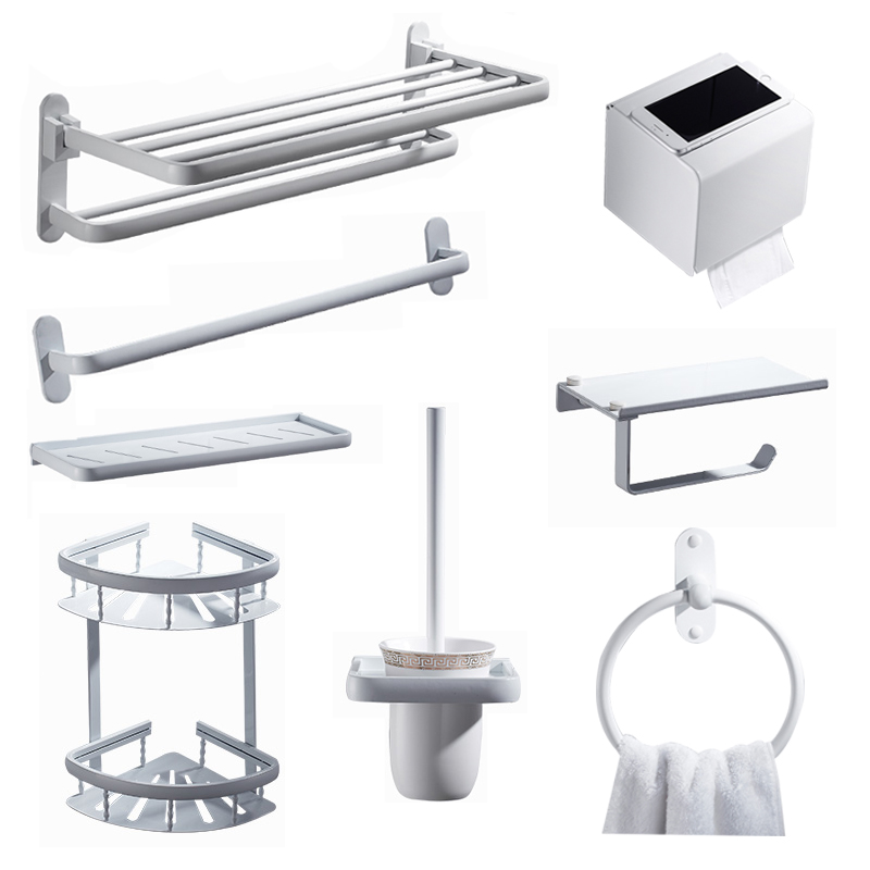 Space aluminum white towel ring Nordic style five row hook toilet paper towel holder tissue box bathroom hardware kit creative smily towel tissue plastic tube box holder blue white