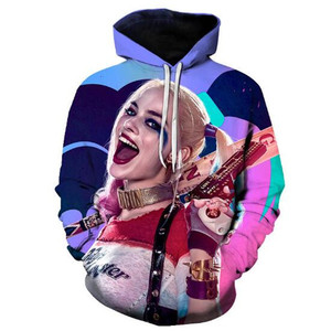 Image 5 - Super villain Cosplay Harley Quinn 3D Cotton hoodie Men and women clothing Anime costume Role playing costume The New