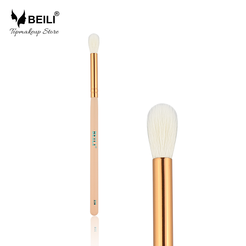 BEILI 228 # 100% Geitenhaar Oogschaduwvouw Make-uppenseel Rose Golden Ferrule Pink Handle