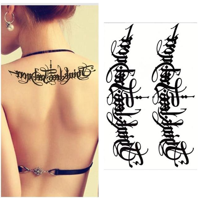 Fashion Arabic Tattoo Lettering Arm Tattoo Sex Women Men Art Body