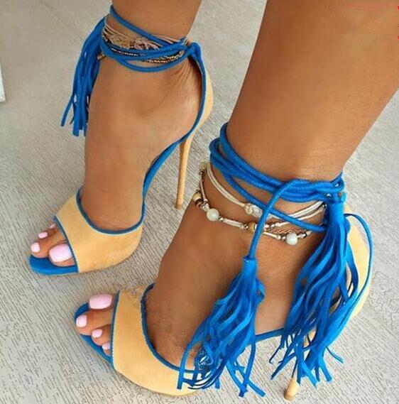 Rripa të kyçit të këmbës me të verdhë / vjollcë sandale me - Këpucë për femra - Foto 2