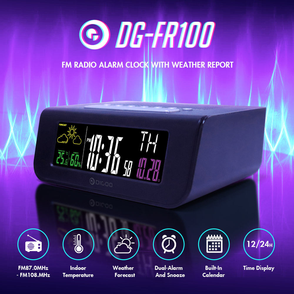 Digoo DG FR100 SmartSet Wireless Digital Alarm Clock Weather Forecast Sleep with FM Radio Clock Mutifunctional Colorful Screen|sleep alarm clock|sleep clock|sleep alarm - title=