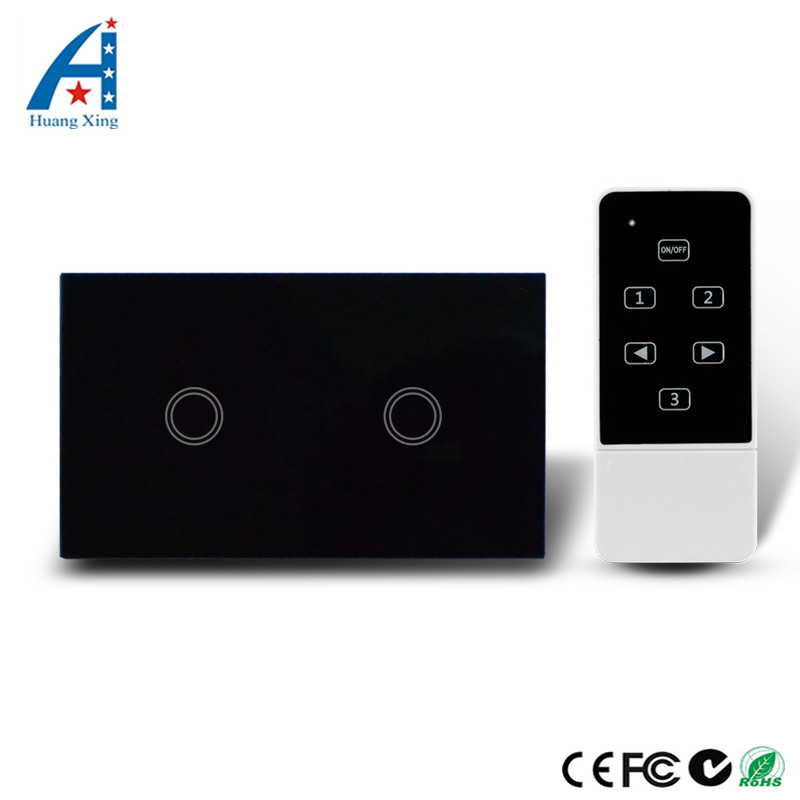 HUANGXING, US Standard Touch With Remote Control 2Gang1Way Light Switch, Black Crystal Tempered Glass Wall Switch+LED Indicator 2017 smart home crystal glass panel wall switch wireless remote light switch us 1 gang wall light touch switch with controller