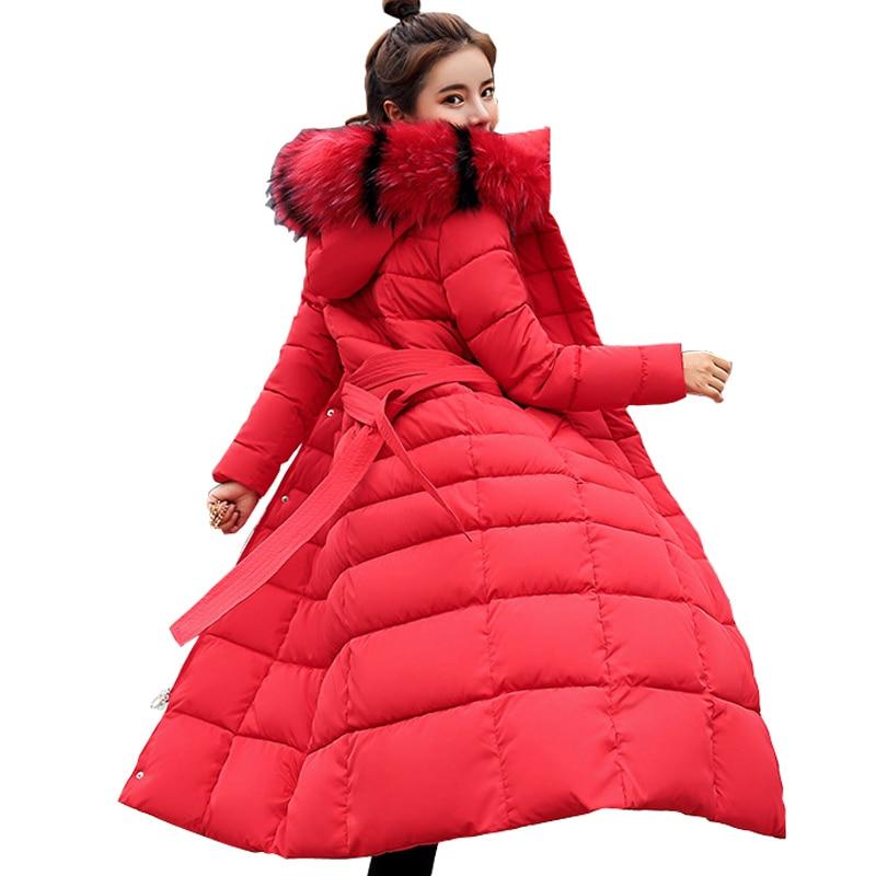 KUYOMENS nueva llegada chaqueta de invierno para mujer Cuello de piel con capucha abajo de algodón abrigo de mujer parka larga Parka caliente Thicken Outwear