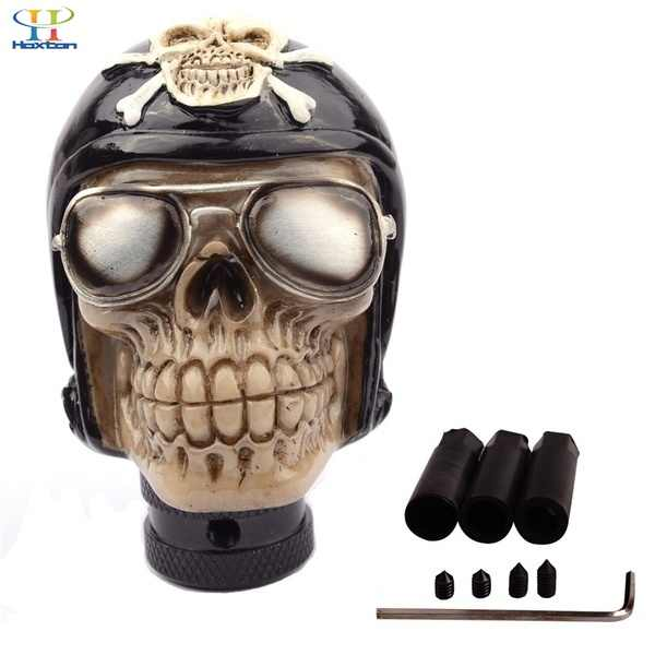 Black Pirate Skull Manual Automatic Gear Shift Knobs Car Styling Manual For Kia Nissan Gear Shifter Universal Palanca De Cambios