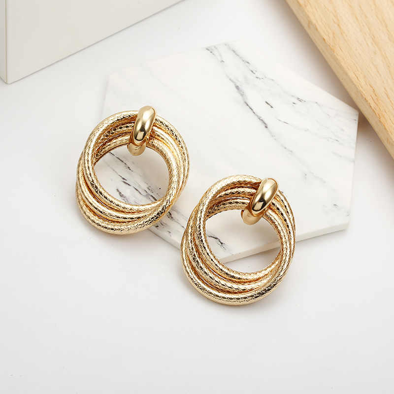 New Vintage Golden Color Hoop Earrings For Women Heavy Double Round Circle Statement Earrings Gift For  Party Wholesale