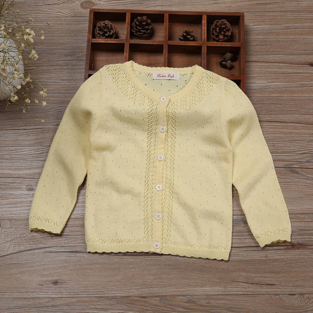 Children Girls Cardigan Sweater Kids Yellow Long Sleeve Jacket ...