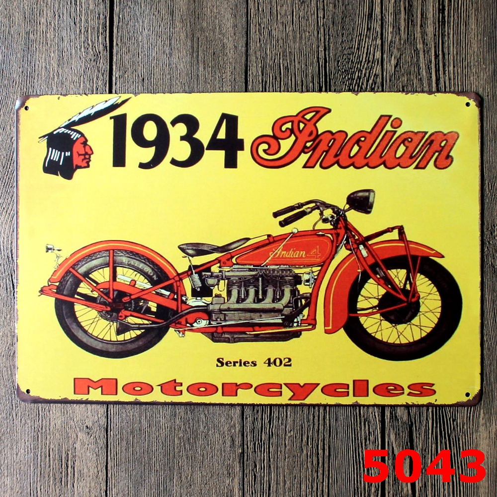 Wall Motorcycle Metal Plates Vintage Metal tin sign Bar Wall art ...