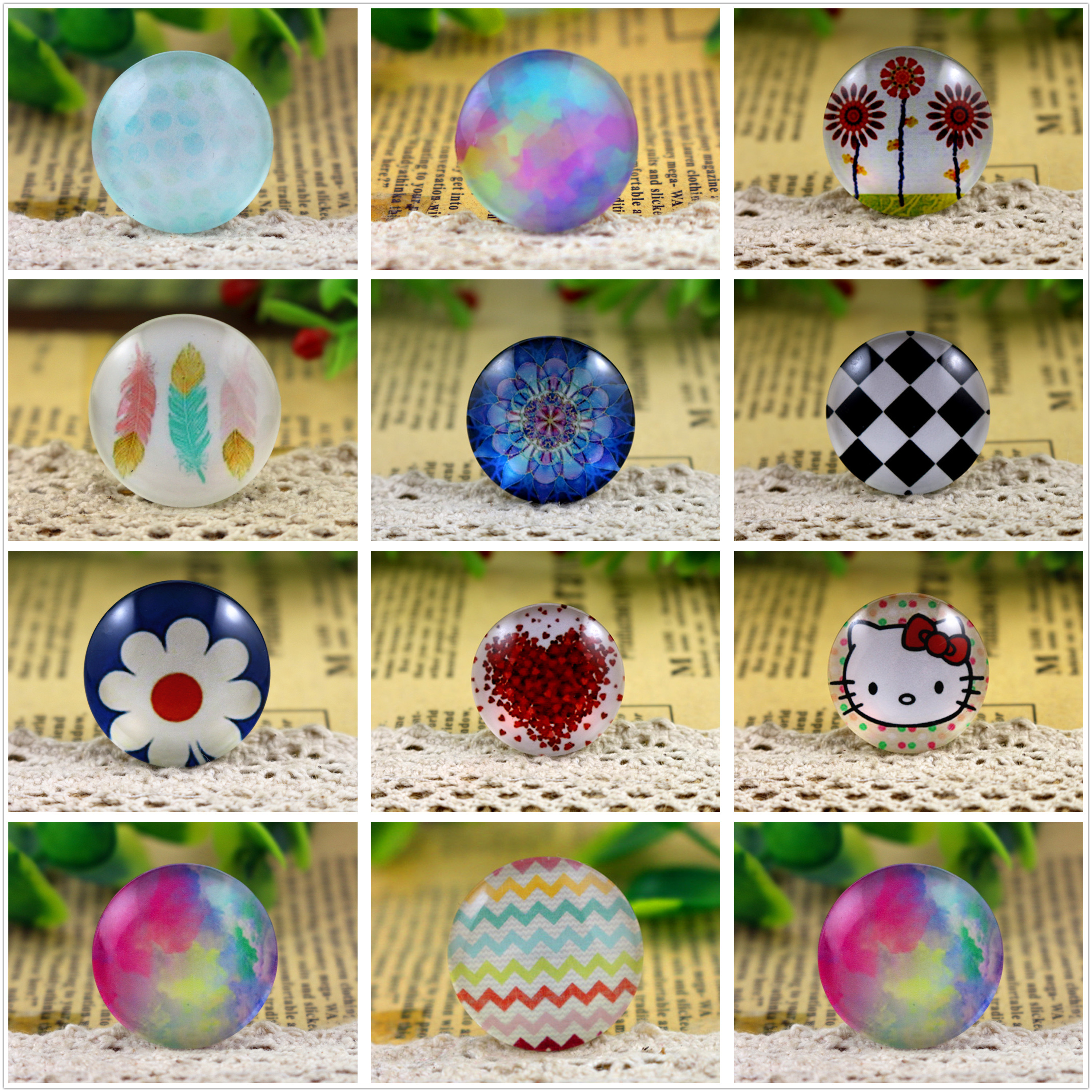 Hot Sale 5pcs/Lot 25mm Handmade Photo Glass Cabochons (Fashion Series)