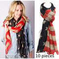 10pcs Vintage American Flag Scarf USA Flags Infinity Scarves Pashmina 4th of July Shawls Hijab  Girls Accessories A0408
